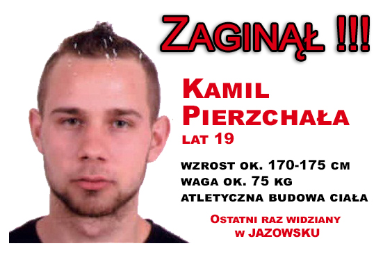 Poszukiwany Kamil Pierzchała z Łącka (lat 19).