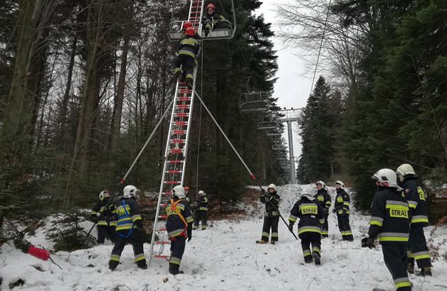 Strażacy ćwiczyli na obiekcie Ski Park Magura w Małastowie
