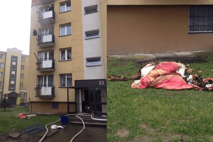 Strażacy ewakuowali z II piętra bloku przy ul. Potockiego w Gorlicach kobietę oraz cztery psy