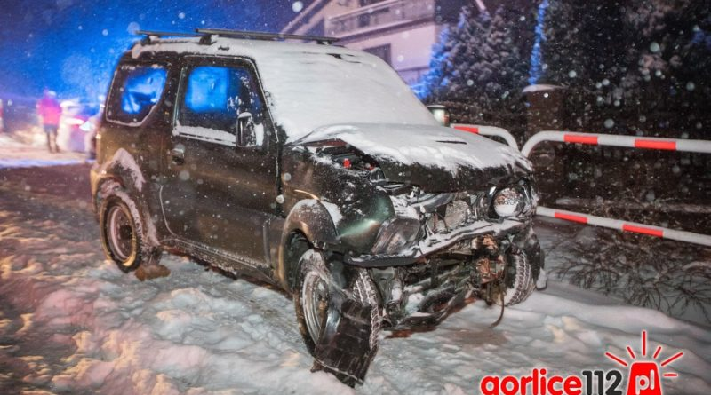 Łużna, zderzenie czołowe pojazdów Suzuki i Saab (18 03 2018)