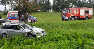 Ropa, dk 28: Kierowca BWM zasnął i uderzył w drzewo.