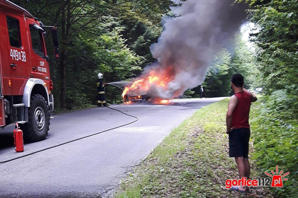 Uście Gorlickie: na drodze w stronę Kunkowej spłonął VW Golf 4 kombi