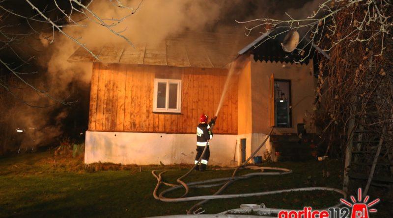 Pożar domu w Ropie