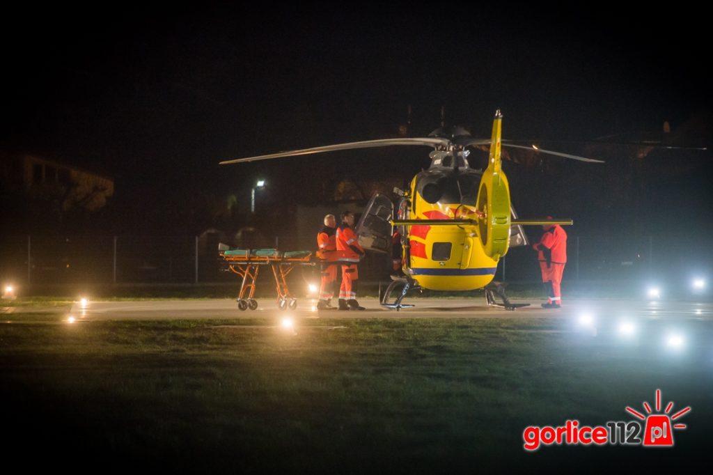 Gorlice: LPR przyleciał do gorlickiego szpitala po poszkodowaną z wypadku w Tuchowie
