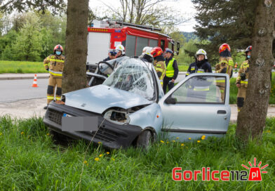Hańczowa: fiat seicento uderzył w drzewo. Kierujący zabrany do szpitala! (TV)